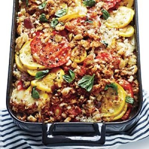 Gratinado de pimientos, calabaza y  tomates